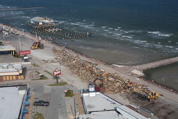 Stock photo of beachfront damage from Hurricane Ike in Galveston Texas