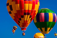 Hot air balloons flying during the Albuquerque International Balloon Fiesta, Albuquerque, New Mexico USA.