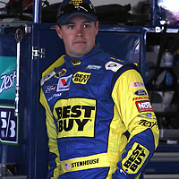 NASCAR Sprint Cup driver Ricky Stenhouse Jr. rests in the garage area, during a NASCAR Daytona 500 practice session at Daytona International Speedway on Wednesday, February 20, 2013 in Daytona Beach, Florida.  (AP Photo/Alex Menendez)