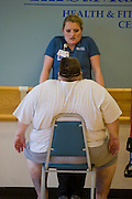 Rick Bumgardner, a 500 pound retired school bus driver, at his first day of exercise classes at St. Mary's Health Center, Knoxville, Tennessee.  (Rick Bumgardener was featured in the book What I Eat: Around the World in 80 Diets.)