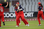Lancashire Thunders Sophie Ecclestone celebrates a wicket during the Women's Cricket Super League match between Lancashire Thunder and Loughborough Lightning at the Emirates, Old Trafford, Manchester, United Kingdom on 20 August 2019.