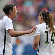 Abby Wambach, (left), U.S. Women's National Team, advising team mate Lauren Holiday during the U.S. Women's National Team Vs Korean Republic, International Soccer Friendly in preparation for the FIFA Women's World Cup Canada 2015. Red Bull Arena, Harrison, New Jersey. USA. 30th May 2015. Photo Tim Clayton