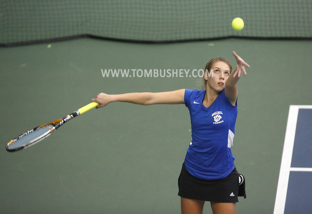 Wallkill's Olga Ostravetsky serves during her match against Valley Central's Sera Satkowski duiring the Section 9 singles final at MatchPoint Tennis in Goshen on Wednesday, Oct. 23, 2013. Ostravetsky won 6-0, 6-0.