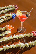 Tropical cocktail and tuberose flower leis, Wailea Beach Marriott Resort, Maui, Hawaii.