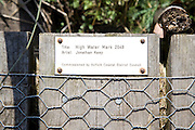 """Plaque for art work """"High Water Mark 2048"""" by Jonathan Keep, Snape, Suffolk"""