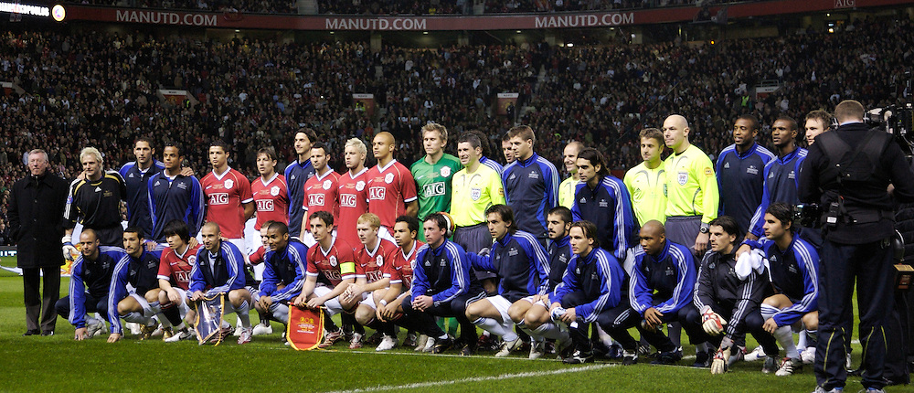 Manchester, England - Tuesday, March 13, 2007: Manchester United and Europe XI players line-up for a team group photo before the UEFA Celebration Match at Old Trafford. (Pic by David Rawcliffe/Propaganda)