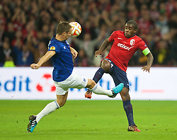 LILLE, FRANCE - Thursday, October 23, 2014: Lille OSC's Rio Mavuba in action against Everton's captain Phil Jagielka during the UEFA Europa League Group H match at Stade Pierre-Mauroy. (Pic by David Rawcliffe/Propaganda)