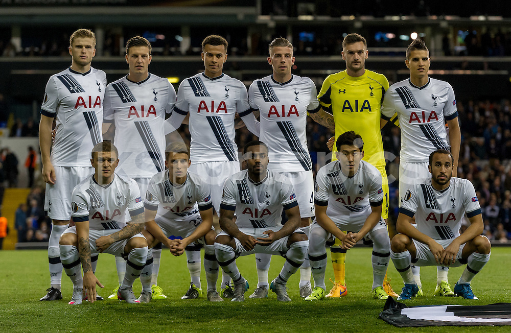Tottenham starting 11 during the UEFA Europa League match between Tottenham Hotspur and Qarabag at White Hart Lane, London, England on 17 September 2015. Photo by Vince  Mignott.