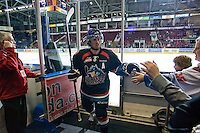 KELOWNA, CANADA, NOVEMBER 25: Shane McColgan #18 of the Kelowna Rockets exits the ice as the Kootenay Ice visit the Kelowna Rockets  on November 25, 2011 at Prospera Place in Kelowna, British Columbia, Canada (Photo by Marissa Baecker/Shoot the Breeze) *** Local Caption *** Shane McColgan;