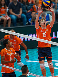 10-08-2019 NED: FIVB Tokyo Volleyball Qualification 2019 / Belgium - Netherlands, Rotterdam<br /> Third match pool B in hall Ahoy between Belgium vs. Netherlands (0-3) for one Olympic ticket / Gijs van Solkema #15 of Netherlands