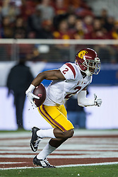 SANTA CLARA, CA - DECEMBER 05:  Cornerback Adoree' Jackson #2 of the USC Trojans fields a kick off against the Stanford Cardinal during the first quarter of the Pac-12 Championship game at Levi's Stadium on December 5, 2015 in Santa Clara, California. The Stanford Cardinal defeated the USC Trojans 41-22. (Photo by Jason O. Watson/Getty Images) *** Local Caption *** Adoree' Jackson