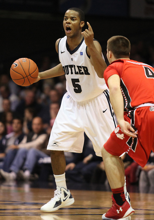 November 23, 2011: Butler's Ronald Nored calls out to his team mates against Gardner-Webb at Hinkle Fieldhouse in Indianapolis, Ind.   Butler won 68-66.