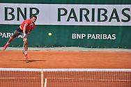 Michal Przysiezny from Poland competes in men's single first round while Day First during The French Open 2014 at Roland Garros Tennis Club in Paris, France.<br /> <br /> France, Paris, May 25, 2014<br /> <br /> Picture also available in RAW (NEF) or TIFF format on special request.<br /> <br /> For editorial use only. Any commercial or promotional use requires permission.<br /> <br /> Mandatory credit:<br /> Photo by © Adam Nurkiewicz / Mediasport