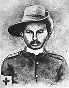 Mohondas Karamchand Gandhi (1869-1948), known as Mahatma (Great Soul). Indian Nationalist leader. Gandhi in 1906 as a Red Cross stretcher bearer during the Zulu Rebellion.