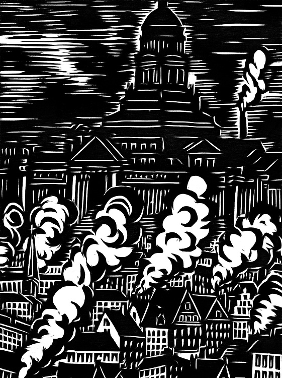 A black / white drawing of the courthouse of Brussels
