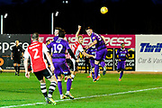 Goal Jayden Stockley (11) of Exeter City scores a goal to make the score 1-1 during the EFL Sky Bet League 2 match between Exeter City and Grimsby Town FC at St James' Park, Exeter, England on 29 December 2018.