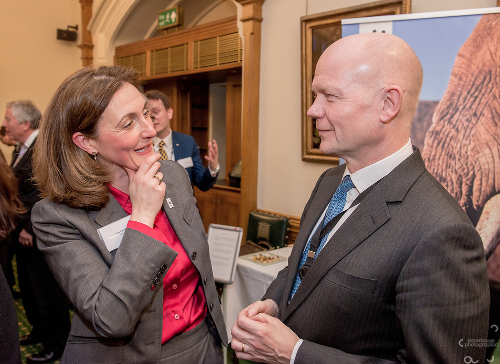 Tanya Steele chats with William Hague during the Chinese Embassy and WWF-UK's reception to mark the closure of China's domestic Ivory Market, Churchill room, Palace of Westminster, London.<br /> Hosted by Mr Richard Graham MP.<br /> <br /> 31st January, 2018.
