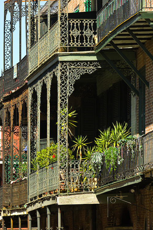 Wrought iron balconies, French Quarter, New Orleans, Louisiana, USA