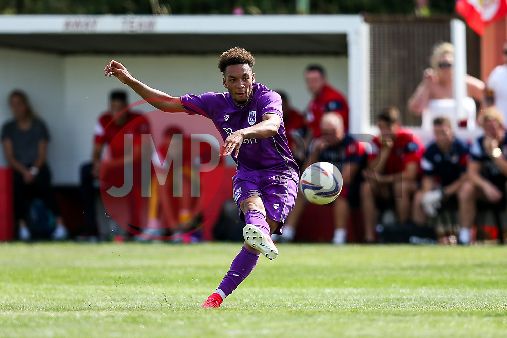 Freddie Hinds of Bristol City shoots - Rogan/JMP - 09/07/2017 - The Creek - Bristol, England - Bristol Manor Farm v Bristol City - Pre-season Friendly.