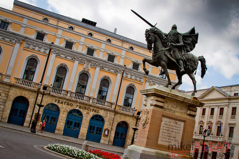Statue of El Cid.<br /> Burgos city. Castile and Leon, Spain.