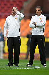 MOSCOW, RUSSIA - Tuesday, May 20, 2008: Manchester United's manager Alex Ferguson and assistant manager Carlos Queiroz during training ahead of the UEFA Champions League Final against Chelsea at the Luzhniki Stadium. (Photo by David Rawcliffe/Propaganda)