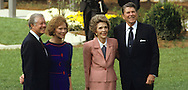 The Reagans and Carters at the Opening of the Carter Presidential Library in 1986..Photograph by Dennis Brack bb24