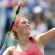 Victoria Azarenka, Belarus, in action against Alize Cornet, France, during the Women's Singles competition at the US Open. Flushing, New York, USA. 31st August 2013. Photo Tim Clayton