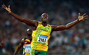 epa01458488 Jamaica's Usain Bolt wins the men's 200m final at the Beijing 2008 Olympic Games, 20 August 2008. Bolt won in new World Record time of 19.30 seconds.  EPA/Nic Bothma