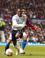 Photo: Paul Greenwood.<br />England v Spain. International Friendly. 07/02/2007. Englands Shaun Wright Phillips, left, beats Spains Joan Capdevila to the ball