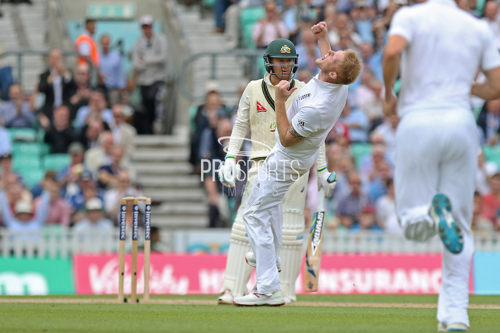 Ben Stokes of England takes the wicket of Michael Clarke captain of Australia during the 1st day of the 5th Investec Ashes Test match between England and Australia at The Oval, London, United Kingdom on 20 August 2015. Photo by Phil Duncan.