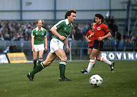 Martin O'Neill, footballer, Norwich City, appearing for N Ireland against Scotland at Windsor Park, Belfast. 19810063MON1..Copyright Image from Victor Patterson, 54 Dorchester Park, Belfast, United Kingdom, UK...For my Terms and Conditions of Use go to http://www.victorpatterson.com/Victor_Patterson/Terms_%26_Conditions.html