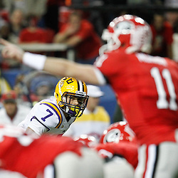 Dec 3, 2011; Atlanta, GA, USA; LSU Tigers cornerback Tyrann Mathieu (7) against the Georgia Bulldogs during the first half of the 2011 SEC championship game at the Georgia Dome.  Mandatory Credit: Derick E. Hingle-US PRESSWIRE