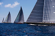 Hanuman, Rainbow, Velsheda, and Lionheart, J Class, sailing in the St. Barth's Bucket Regatta, day one.