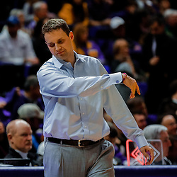 Jan 13, 2018; Baton Rouge, LA, USA; LSU Tigers head coach Will Wade reacts during the second half against the Alabama Crimson Tide at the Pete Maravich Assembly Center. Alabama defeated LSU 74-66.  Mandatory Credit: Derick E. Hingle-USA TODAY Sports