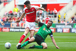 Paddy Madden of Scunthorpe United tackles Kieffer Moore of Rotherham United - Mandatory by-line: Ryan Crockett/JMP - 14/10/2017 - FOOTBALL - Aesseal New York Stadium - Rotherham, England - Rotherham United v Scunthorpe United - Sky Bet League One