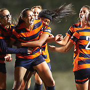 Cal State Fullerton's midfielder, Christina Burkenroad (#4), celebrates with teammates after scoring a goal during a game against UC Santa Barbara on Thursday, November 5, 2015 in Fullerton, CA. <br /> <br /> Mandatory Copyright Notice: Copyright 2015 (Photo by Sarah Sachs) Mandatory Copyright Notice: Copyright 2015 (Photo by Sarah Sachs)