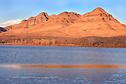 Redrock Mountains Reflecting in Winter Pond, Central Nevada