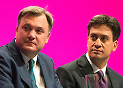 © Licensed to London News Pictures. 22/09/2014. Manchester, UK. Ed Balls with Ed Miliband before his keynote speech to the Labour Party Conference 2014 at the Manchester Convention Centre today 22 September 2014. Photo credit : Stephen Simpson/LNP