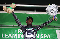 Team Dimension Data's Nicholas Dlamini celebrates on the podium with the King of the Mountains jersey during stage four of the Ovo Energy Tour of Britain 2018 from Nuneaton to Royal Lemington Spa.