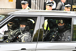 © Licensed to London News Pictures. 02/11/2017. London, UK. Armed police and security watch over as Israeli Prime Minister Benjamin Netanyahu arrives at Downing Street in London . Mr Netanyahu is holding bilateral talks with Foreign Secretary Boris Johnson and Prime Minister Theresa May in London today. Photo credit: London News Pictures