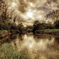 A rural scene of a peaceful river with reeds and trees and a cloudy sky reflected in the water