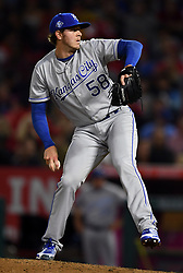 June 6, 2018 - Anaheim, CA, U.S. - ANAHEIM, CA - JUNE 06: Kansas City Royals pitcher Scott Barlow (58) in action during the sixth inning of a game against the Los Angeles Angels of Anaheim played on June 6, 2018 at Angel Stadium of Anaheim in Anaheim, CA. (Photo by John Cordes/Icon Sportswire) (Credit Image: © John Cordes/Icon SMI via ZUMA Press)