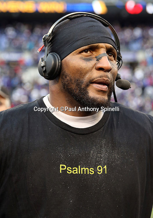 Baltimore Ravens inside linebacker Ray Lewis (52) does a post game interview after the AFC Wild Card Playoff football game against the Indianapolis Colts on Sunday, Jan. 6, 2013 in Baltimore. The Ravens won the game 24-9. ©Paul Anthony Spinelli