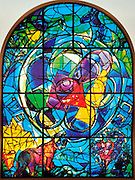 The Tribe of Benjamin. The Twelve Tribes of Israel depicted in stained glass By Marc Shagall (1887 - 1985). The Twelve Tribes are Reuben, Simeon, Levi, Judah, Issachar, Zebulun, Dan, Gad, Naphtali, Asher, Joseph, and Benjamin.
