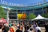 May 23, 2010; Phoenix, AZ, USA; Fans listen to a concert outside the US Airways Center prior to game three of the western conference finals in the 2010 NBA Playoffs at US Airways Center.  Mandatory Credit: Jennifer Stewart-US PRESSWIRE