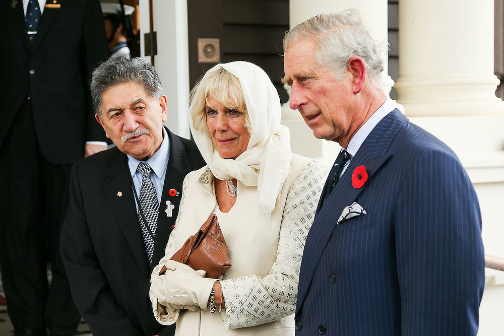 Government House Kaumatua Mr Lewis Moeau, left, Camilla, Duchess of Cornwall and Prince Charles, Prince of Wales, look on during a welcome ceremony at Government House, Wellington, New Zealand, Wednesday, November 04, 2015. Credit:SNPA / Getty, Hagen Hopkins **POOL**