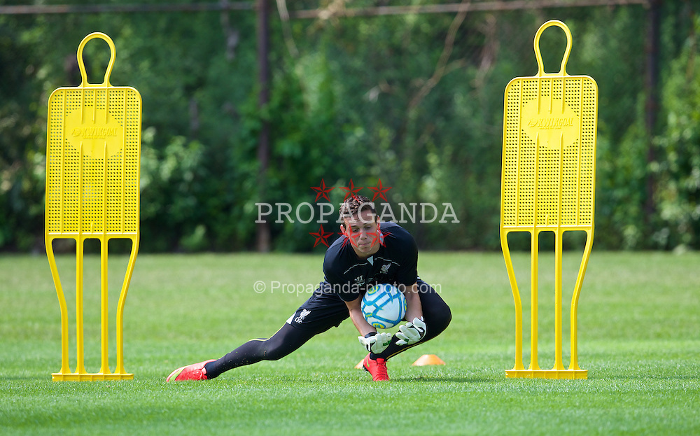 HARVARD, USA - Monday, July 21, 2014: Liverpool's goalkeeper Danny Ward during a preseason training session at the Harvard Stadium in Boston on day one of their USA Tour. (Pic by David Rawcliffe/Propaganda)