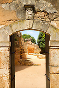 RABAT, MOROCCO - 27th May 2014 - Stone arch doorway at the Chellah Gardens, Rabat, Morocco.