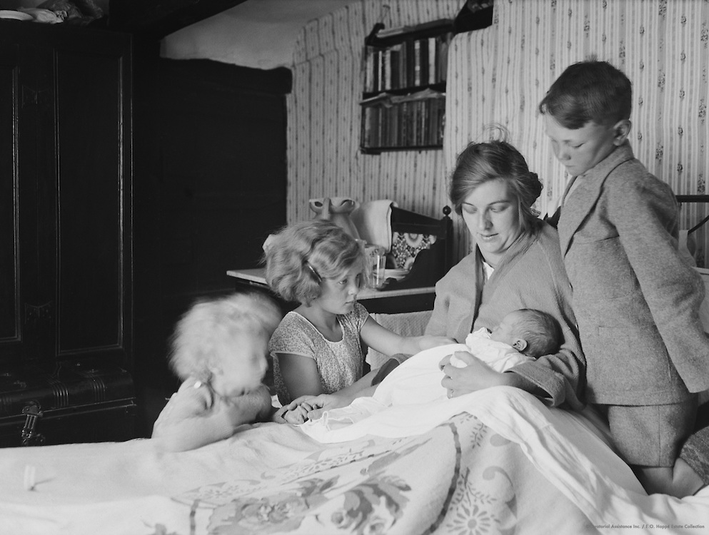 Mother with New Baby and Older Children, London, 1935