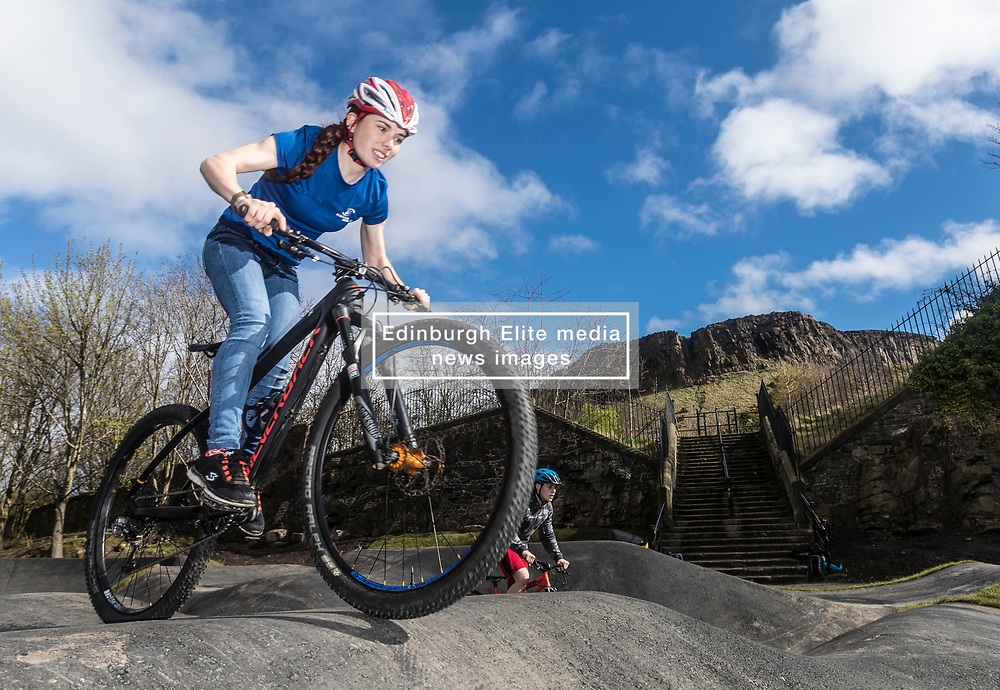 """A new bike park for mountain bikers has opened in the centre of Edinburgh. The Skelf Bike park has a 900m2 """"Pump Track"""" of banked corners and mounds. The park opens today and had professional riders trying out the new track.<br /> <br /> Pictured: Scottish Mountain Bike team member, Isla Shot. Isla rides with the professional team OMX-Pro Team"""
